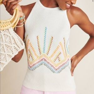 Anthropologie sunrise embroidered sweater tank, S